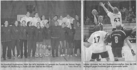 Ausrichtung der Stadtmeisterschaften im Mai durch den HSC in den Sporthallen in Fallersleben.