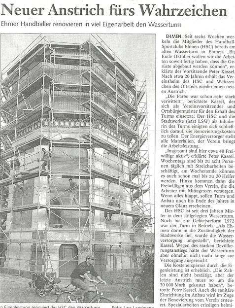 Im Herbst startete die Renovierung des Wasserturms.