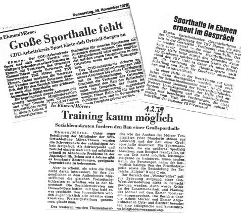 Immer wieder tauchte auch das Sporthallenthema auf, so im Februar 1979